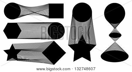 Vector illustration of a set of templates. Geometric figures linked by hundreds of lines, occurrence will transition between them. EPS 8.
