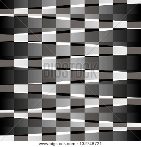 Background with optical illusion, squares in a checkerboard pattern and translucent uneven stripes.