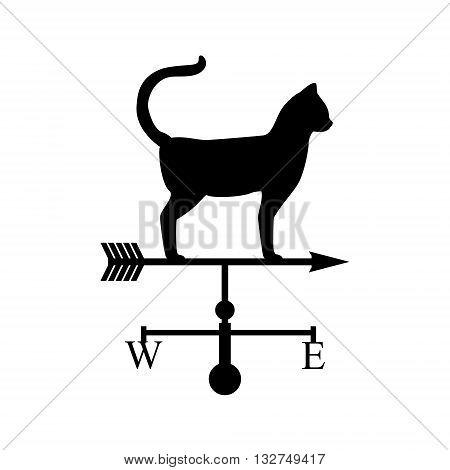 Vector illustration weather van with cat. Black silhouette cat. Weathervan