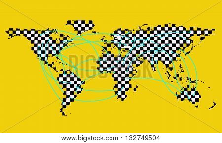 Vector illustration background with a map of the world consisting of a checkerboard texture. The arrows around the world indicating the flights, transfers and data. Points of origin and destination. EPS 10.