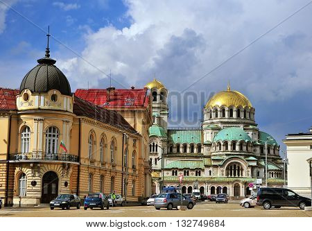 SOFIA BULGARIA - MAY 5: View of National Assembly Square in Sofia on May 5 2016. Sofia is the largest city and capital of Bulgaria.