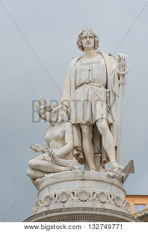 Monument to Christopher Columbus in Genoa in station square