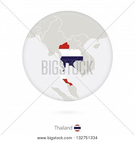 Map Of Thailand And National Flag In A Circle.