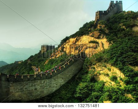 Great Wall of China Badaling Beijing in a cloudy day