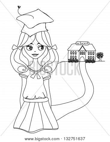 Bay Bay School and young girl , doodle illustration