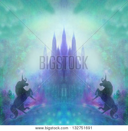 Castle and Unicorn on abstract background , raster