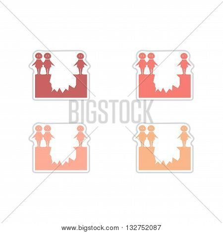 Set of paper stickers on white  background  people abyss