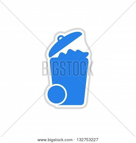 paper sticker on white  background trash can
