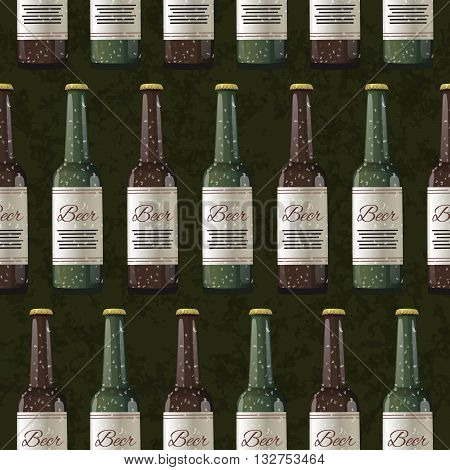 A lot of bottles of light and dark beer on dark green background, seamless pattern