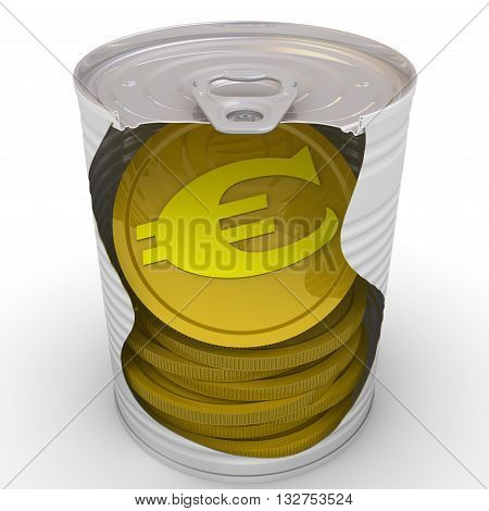 Coins in a tin. Gold coins of the European currency inside a tin can. Cash reserve funds. Concept. Isolated. 3D Illustration