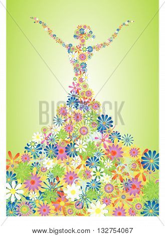 Silhouette of a girl in a long dress made up of many flowers. Vector illustration.