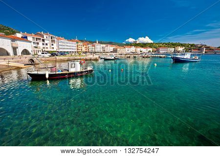 Turquoise waterfront of town Senj Primorje region of Croatia