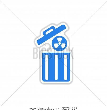 paper sticker on white  background radioactive waste