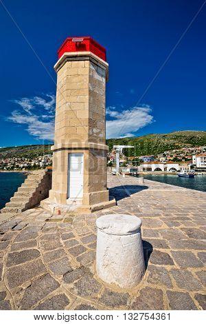 Lighthouse in Adriatic town of Senj Primorje region of Croatia