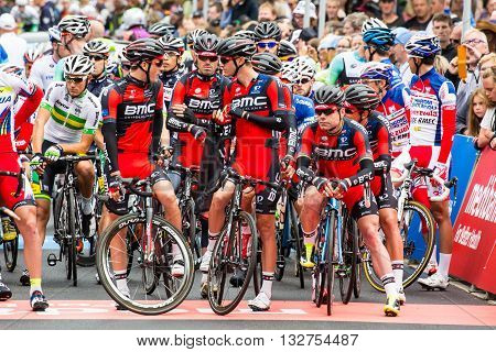 MELBOURNE, AUSTRALIA - FEBRUARY 1: Team BMC before the start of the inaugral Cadel Evans Great Ocean Road Race