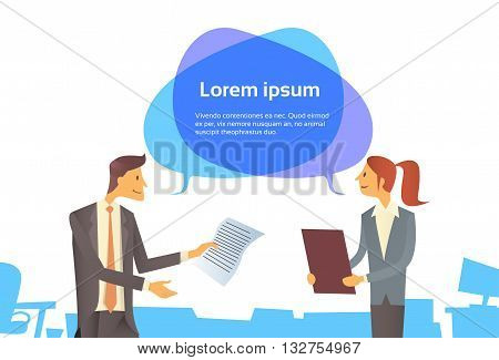 Businessman Hold Paper Document Businesswoman With Chat Bubble Communication Business People Dialog Concept Flat Vector Illustration