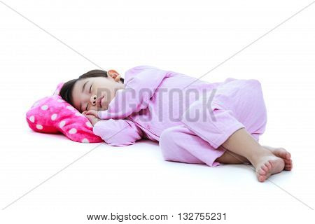Full Body. Healthy Children Concept. Asian Girl Sleeping Peacefully. Isolated On White Background.