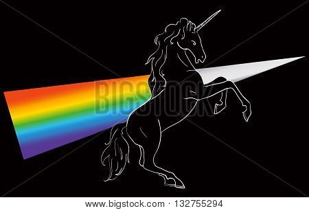 Unicorn silhouette like prism icon logo with rainbow and shine. Simple style symbol.