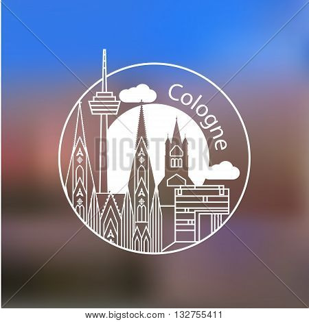 Koln vector linear logo. Trendy stylish landmarks. One line style. Great St. Martin Church Cologne Cathedral the symbol of Cologne Germany.