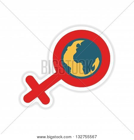paper sticker on white  background feminine sign Global