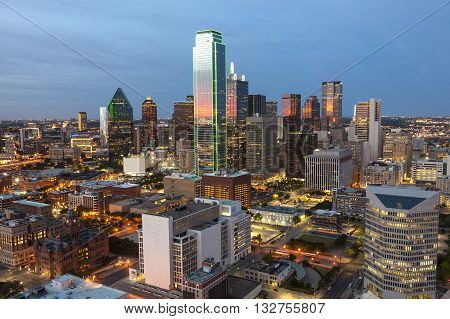 View over the Dallas downtown district illuminated at night. Texas United States