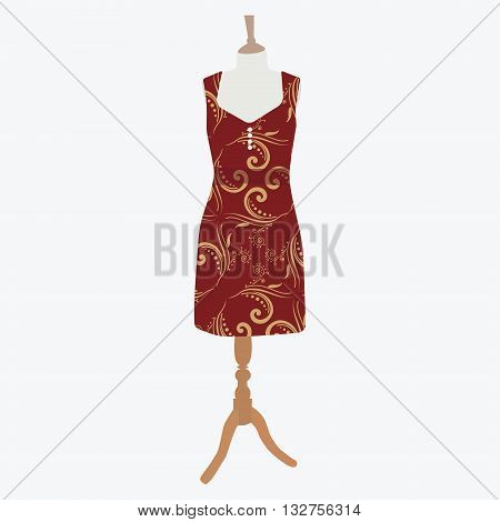 Vector illustration elegant cocktail evening woman dresses on mannequin for boutique. Red bordo dress with pattern