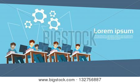 Business People Team Work Desktop Computer Flat Vector Illustration