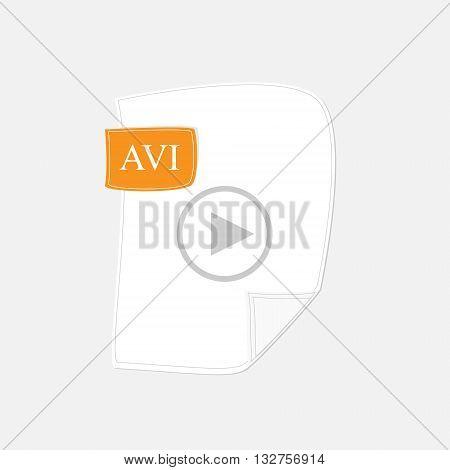 Vector illustration film video symbol. AVI format icon. Multimedia