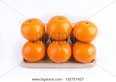 Group of mandarin oranges tangerines fruit isolated on white background
