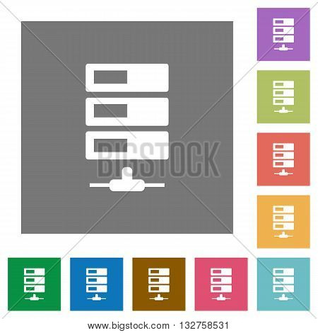 Data network flat icon set on color square background.
