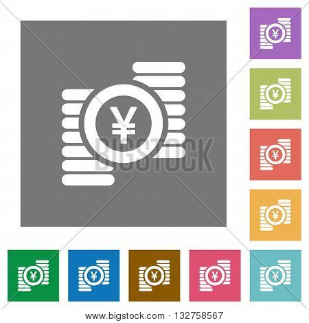 Yen coins flat icon set on color square background.