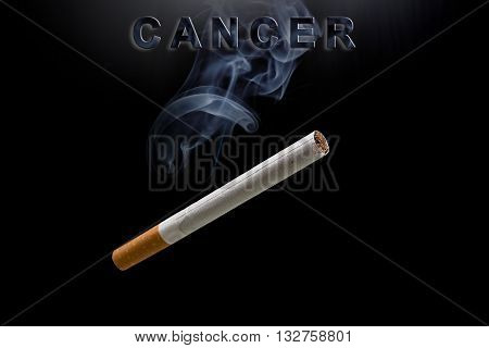 cigarette, smoke and text cancer on black background