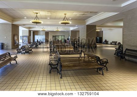 DALLAS USA - APR 7: Empty waiting benches in the Central Station in the city of Dallas. April 7 2016 in Dallas Texas USA