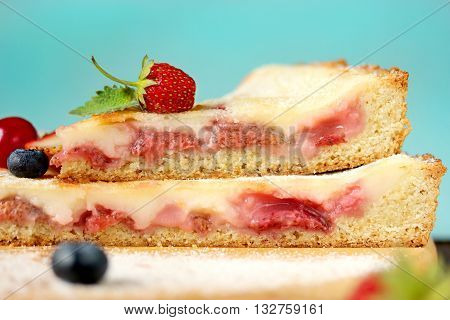 Strawberry mascarpone summer pie tart close up selective focus