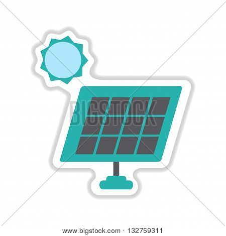 paper sticker on white  background solar battery