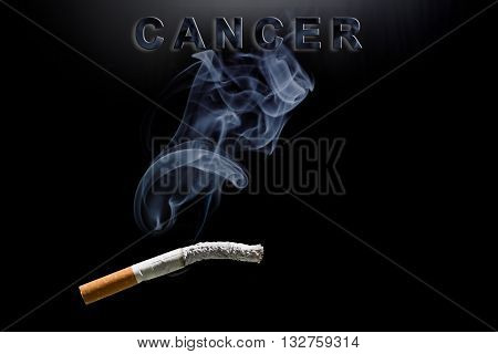 Burning cigarette, smoke and text cancer on black background