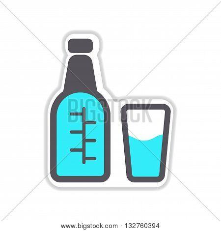 paper sticker on white  background glass bottle