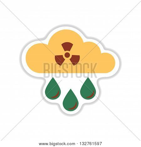 paper sticker on white  background toxic rain