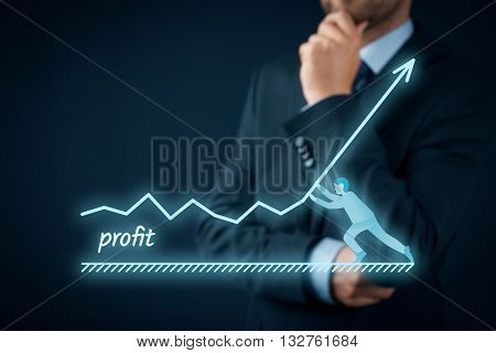Increase profit concept. Manager (businessman coach leadership) want to increase company profit.