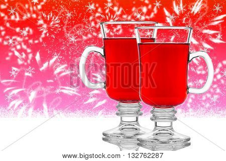Two Glasses Of Mulled Wine On Red Background