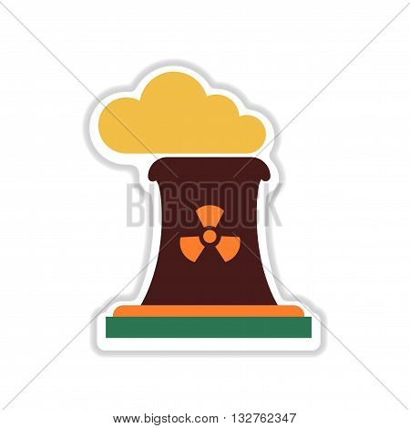 paper sticker on white  background toxic fumes pipe