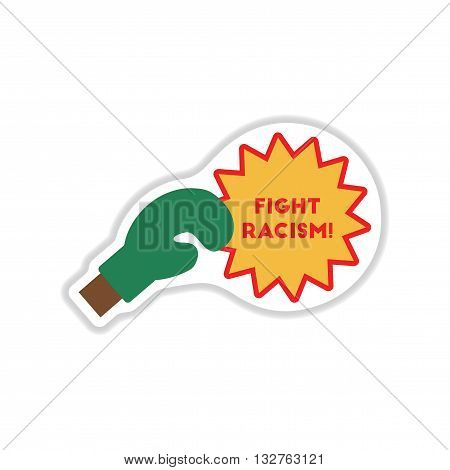paper sticker on the white background racism