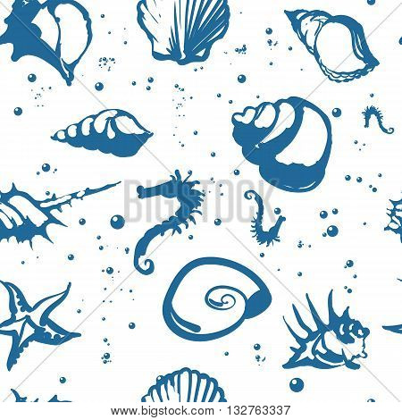 Vector seamless pattern illustration. Beautiful shells. Blue on white background.