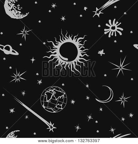 Vector seamless pattern illustration. Cute space: Sun, moon, Earth, stars and meteorite elements for cosmic design.