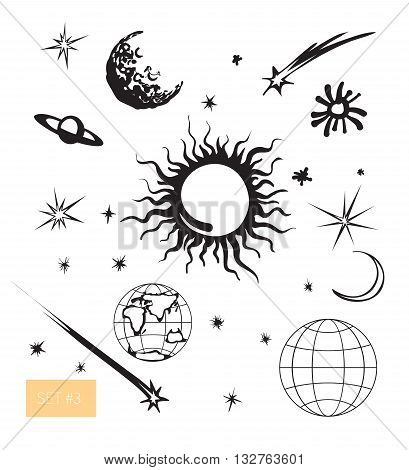 Vector illustration. Cute space set. Sun, moon, Earth, stars and meteorite elements for cosmic design. Black on white background.