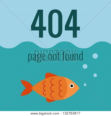 Vector concept 404 error. Illustration for 404 page not found. Flat design 404 page. Template for 404 error page not found. Illustration of aquarium with fish for page with 404 error