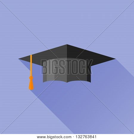 Graduation cap flat icon with long shadow. Mortarboard vector illustration.