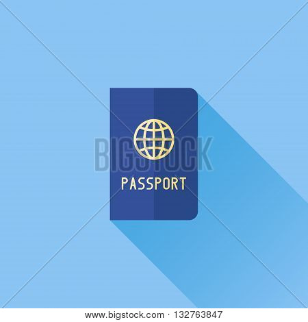 Passport flat icon with long shadow on blue background. Vector illustration.
