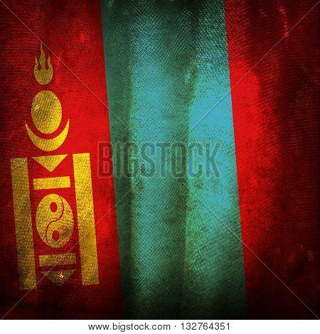 The old vintage grunge flag of Mongolia