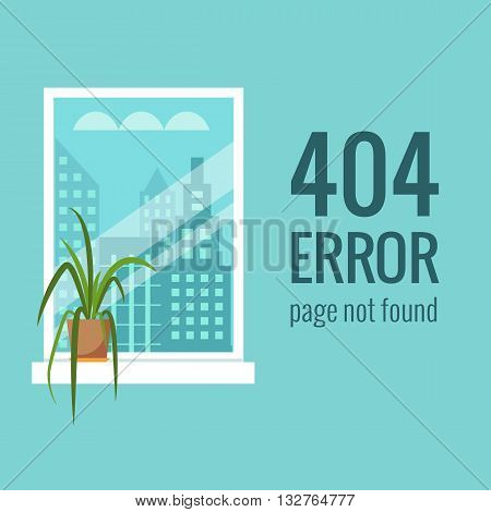 Vector concept 404 error. Illustration for 404 page not found. Flat design 404 page. Template for 404 error page not found. Illustration of window with houseplant for page with 404 error